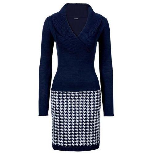 f0b53706fa Sukienka dzianinowa ciemnoniebiesko-biel wełny marki Bonprix