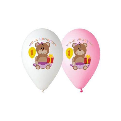 Balony z nadrukiem dla dziewczynki moje 1 urodziny - 30 cm - 5 szt. marki Go
