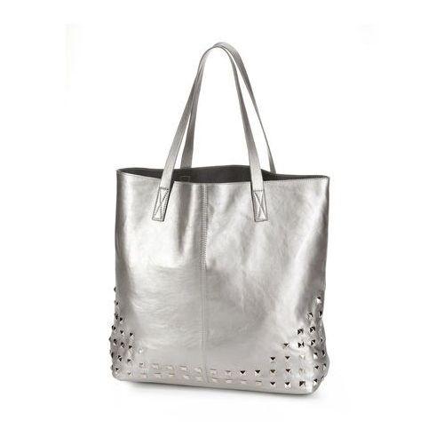 Bonprix Torba shopper z ćwiekami srebrny kolor