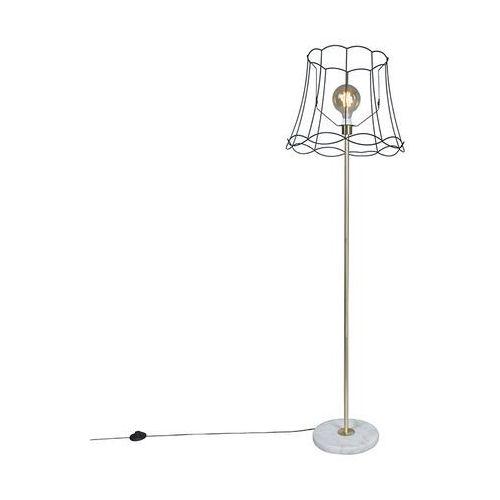 Qazqa Lampa podłogowa retro mosiądz klosz czarny granny frame 50cm - kaso