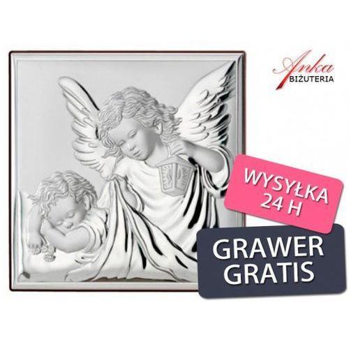 ankabizuteria.pl Obrazek srebrny anioł stróż z latarenką prezent dla dziecka