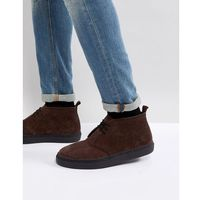 hawley suede mid shoes in dark brown - brown marki Fred perry