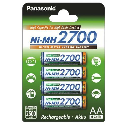 Panasonic 4 x akumulatorki r6 aa ni-mh 2700mah (blister)