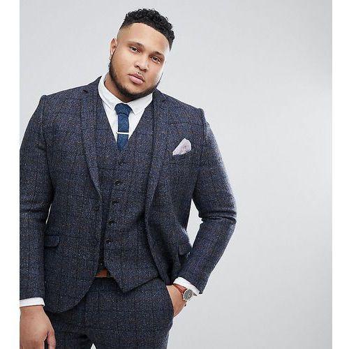 Heart & Dagger PLUS Slim Suit Jacket In Harris Tweed In Check - Navy, kolor szary