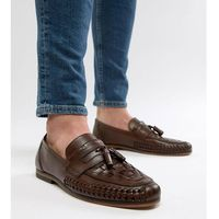 design wide fit loafers in woven tan leather with tassel detail - brown, Asos