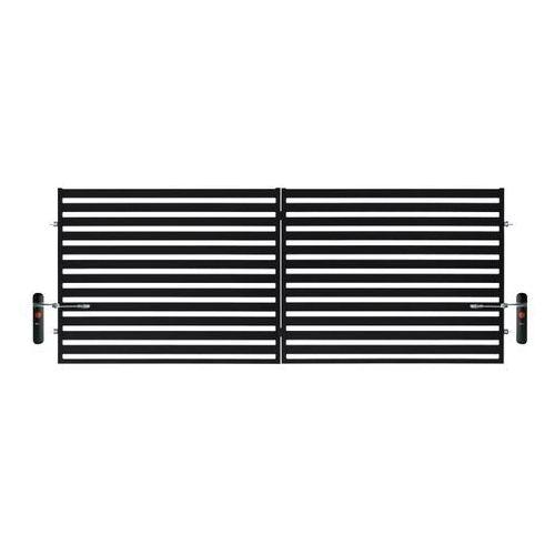Polbram steel group Brama dwuskrzydłowa z automatem lara 2 400 x 154 cm czarna (5901122310426)