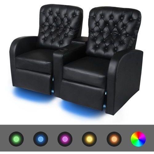 vidaXL Fotele kinowe 2 osobowe, czarna, sztuczna skóra z podświetleniem LED