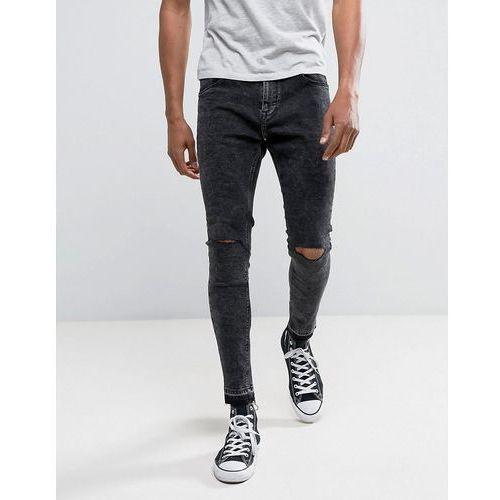 super skinny jeans in washed black with knee rip - black marki Bershka