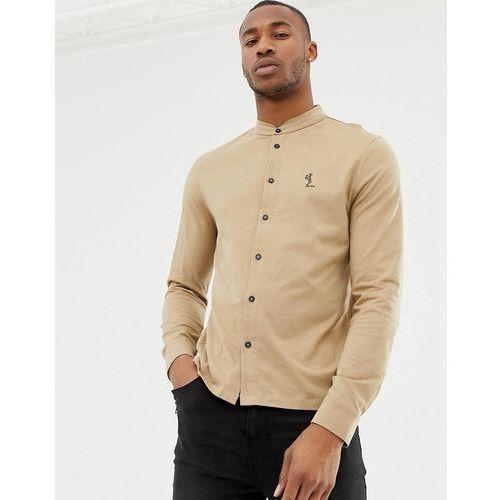 Religion skinny fit jersey shirt with grandad collar in camel - Brown, w 5 rozmiarach