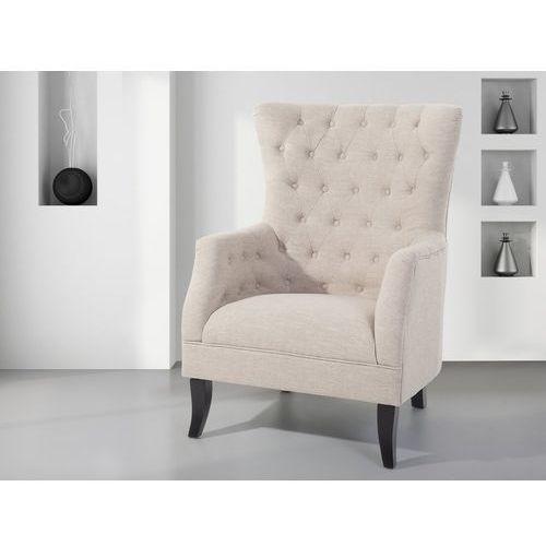 Fotel tapicerowany beżowy - krzesło - viborg marki Beliani