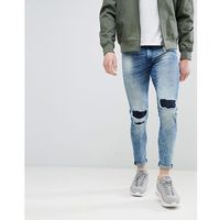super skinny jeans with knee repaired rips - blue, Good for nothing
