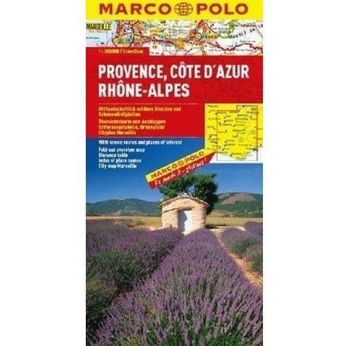 Prowansja Lazurowe Wybrzeże Rodan Alpy mapa 1:300 000 Marco Polo, oprawa broszurowa