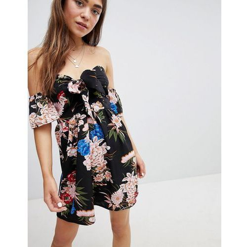 off shoulder floral print skater dress with bow tie - black, Parisian
