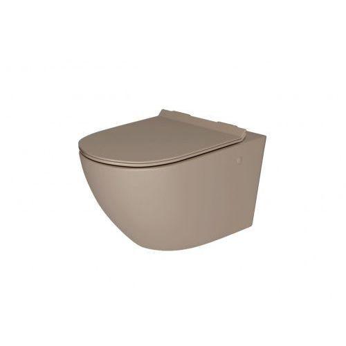 Massi Decos Rimless miska WC wisząca z deską wolnoopadającą duroplast kawa mat MSM-3673RIMSLIM-MC, MSM-3673RIMSLIM-MC
