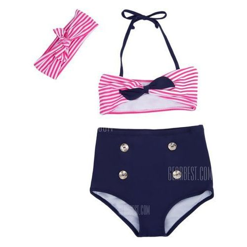 3pcs Cute Striped Bowknot High Waist String Girls Bikini Swimsuit with Headband, kup u jednego z partnerów
