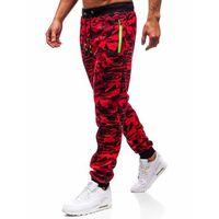Spodnie męskie dresowe joggery czerwone Denley 55021, kolor czerwony
