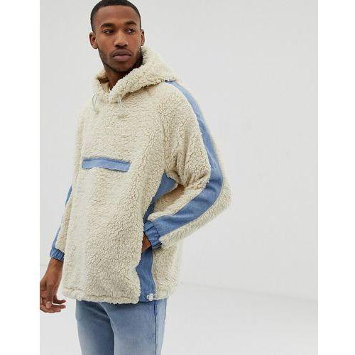 Bershka borg hoodie with front pocket and denim detailing in beige - Beige
