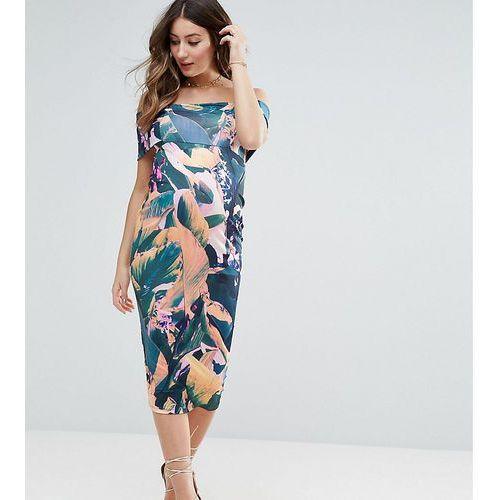 ASOS Maternity PETITE Deep Off The Shoulder Midi Bodycon Dress in Tropical Print - Multi