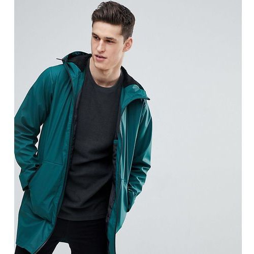 tall shower resistant rain coat with borg lined hood in bottle green - green, Asos