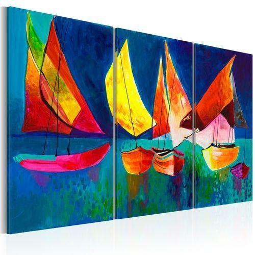 Obraz malowany - Kolorowe żaglówki