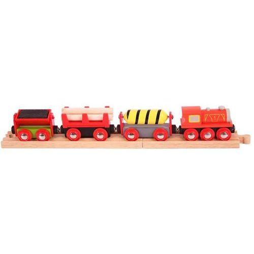 Pociąg z Materiałami Budowlanymi do zabawy dla dzieci, wyposażenie kolejek Bigjigs