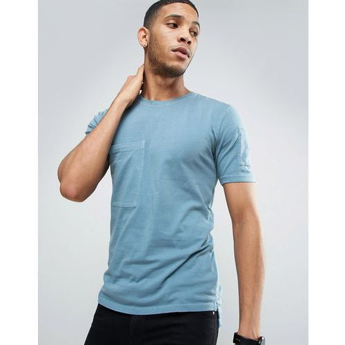 Only & sons  longline t-shirt with step back hem and pockets in organic cotton - blue