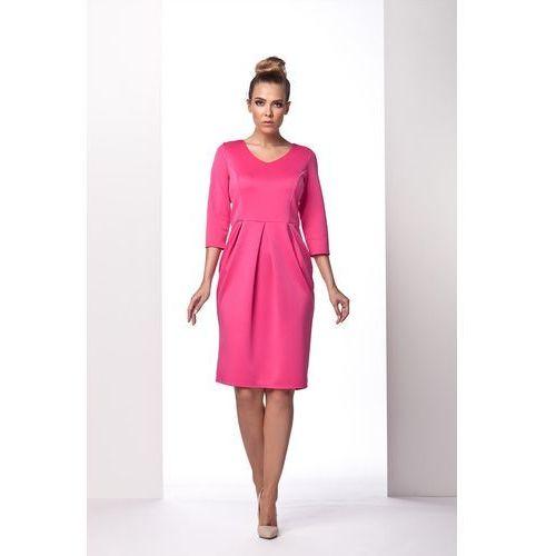 Różowa Sukienka Bombka z Długim Rękawem, GL104pi