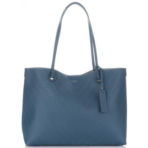 David Jones Klasyczne Torebki Damskie XL z kosmetyczką Ażurowane Niebieskie