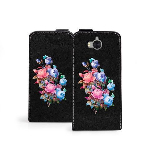 Huawei Y5 (2017) - etui na telefon Flip Fantastic - bukiet róż, kolor różowy