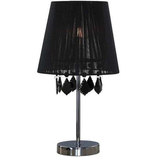 Stojąca lampa stołowa mona lp-5005/1ts bk nocna lampka abażurowa z kryształkami glamour crystal czarna marki Light prestige