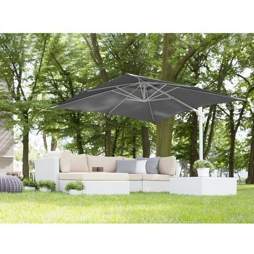 Beliani Parasol ogrodowy 250 x 250 x 235 cm antracytowy/biały monza