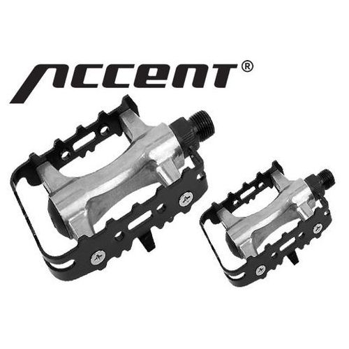 600-10-42_ACC Pedały MTB ACCENT BASIC aluminiowo-stalowe, łożyska kulkowe, srebrno-czarne