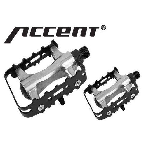 Accent 600-10-42_acc pedały mtb  basic aluminiowo-stalowe, łożyska kulkowe, srebrno-czarne, kategoria: pedały rowerowe