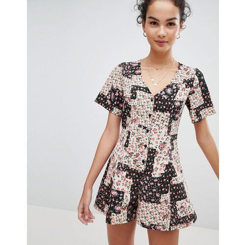 ASOS DESIGN Swing Playsuit With Button Front In Patchwork Floral Print - Multi