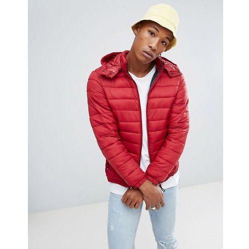 quilted jacket with detachable hood in red - red, Bershka