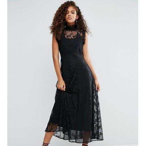 ASOS TALL Lace Insert High Neck Midi Dress - Black, kolor czarny