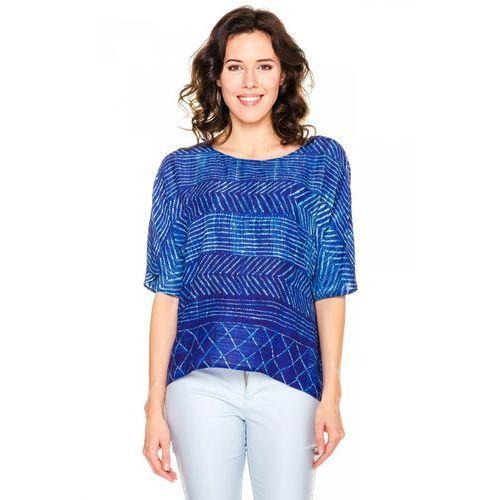 Bialcon Lekka bluzka w niebieskie wzory -