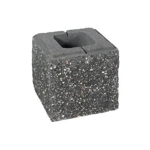 Ziel-bruk Pustak ścienno-cokołowy pół 20 x 19.5 x 19 cm betonowy trzystronnie łupany skała lubuska