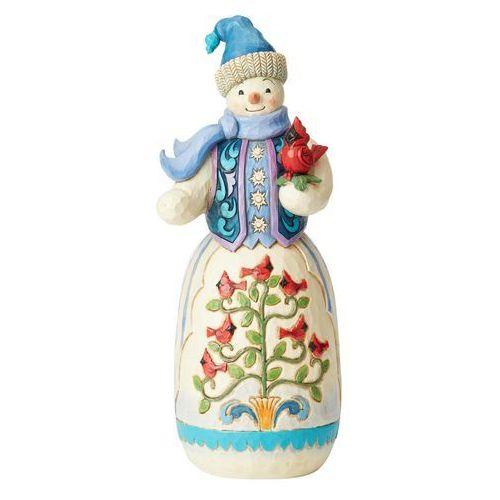 Duży bałwanek z ptaszkiem Snowman with Cardinals 4059914 Jim Shore figurka ozdoba świąteczna