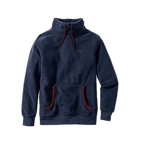 Bluza z polaru z kapturem Regular Fit bonprix ciemnoniebieski, kolor niebieski