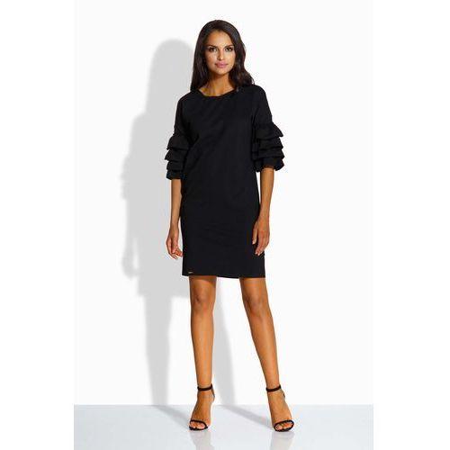 Czarna Sukienka Prosta Mini z Falbankami na Rękawach, w 3 rozmiarach