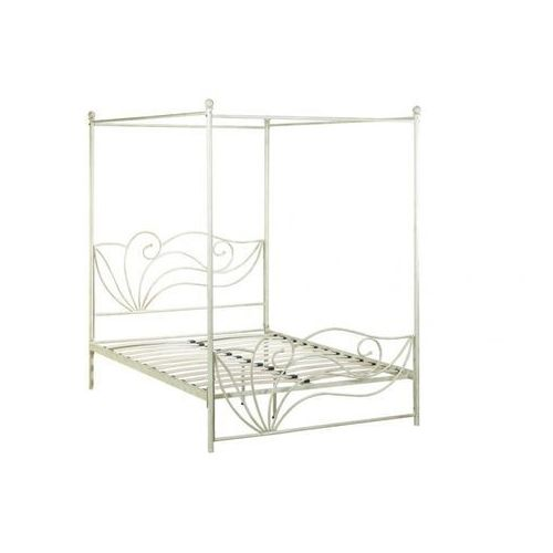 Łóżko z baldachimem IMPERATRICE - 160 × 200 cm - Metal o wyglądzie kutego żelaza