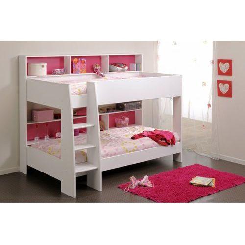 Vente-unique Łóżko piętrowe lenny – 2 x 90 × 200 cm – półki – dwustronne tło różowo-niebieskie