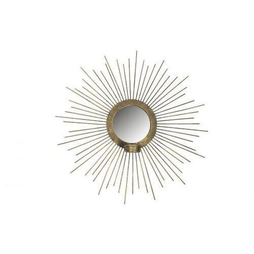 Be pure metalowe lustro z świecznikiem w kształcie słońca antyczny mosiądz ø45cm 800016-b