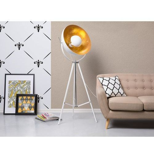 Lampa podłogowa metalowa biało-złota THAMES II, kolor Biały,