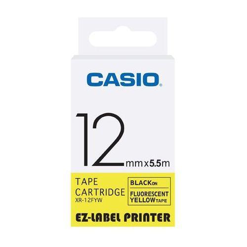 Casio taśma etykiet fluorescencyjna XR-12FYW, XR12FYW, XR-12FYW