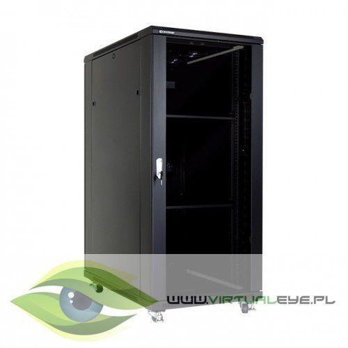 """Linkbasic szafa stojąca rack 19"""" 27u 600x1000mm czarna (drzwi szklane, 4x wentylator, 2x półka, 1x listwa)"""