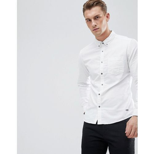 slim fit oxford shirt with button down collar in white - white marki Esprit