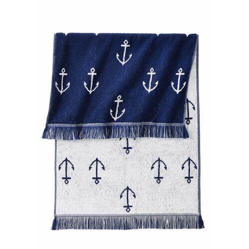 Ręczniki z nadrukiem w kotwice niebieski marki Bonprix
