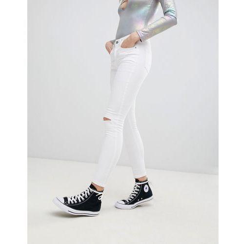 Glamorous Knee Rip Skinny Jeans - White, w 2 rozmiarach